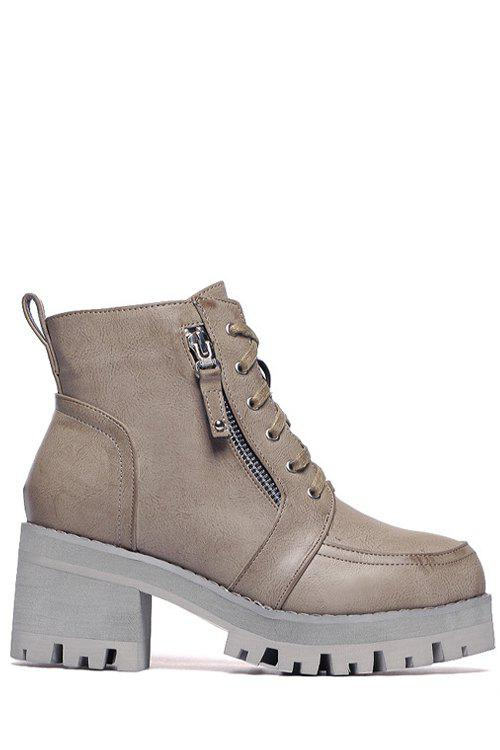Retro Lacing and Chunky Heel Design Women's Short Boots