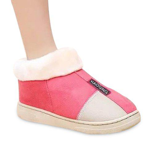 Trendy Platform and Colour Block Design Women's House Slippers - 37 WATERMELON RED