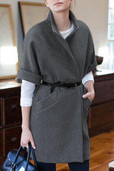 Elegant Turn-Down Collar Gray Short Sleeve Wool Coat For Women ...