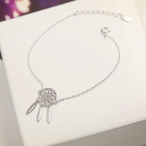 Feather Hollow Out Round Bracelet - SILVER