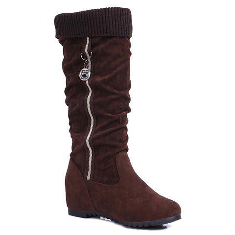 Trendy Increased Internal and Metal Design Boots For Women - BROWN 37