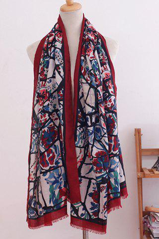 Chic Colored Handpainted Printed Fringed Edge Women's Scarf - RED
