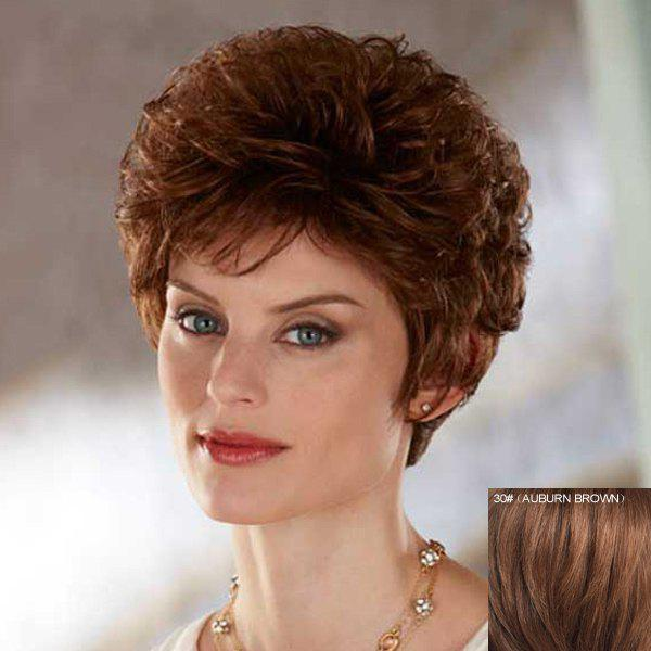 Towheaded Curly Ladylike Short Capless Stylish Side Bang Women's Real Natural Hair Wig - AUBURN BROWN