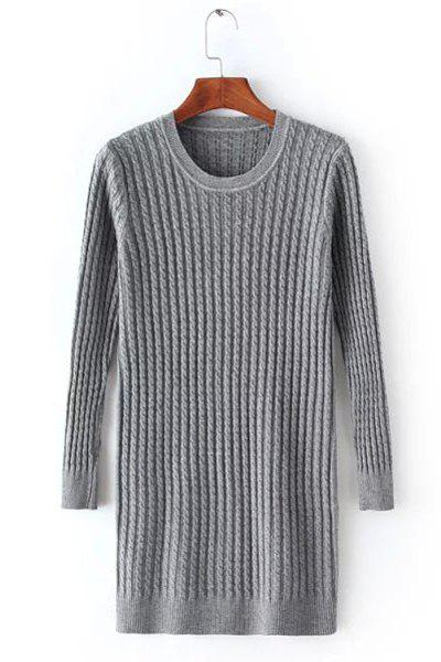 Casual Women's Scoop Neck Cable-Knit Long Sleeve Sweater - GRAY ONE SIZE(FIT SIZE XS TO M)