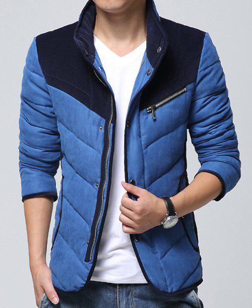 Color Lump Spliced Zig-Zag Pattern Zipper Design Stand Collar Long Sleeves Men's Padded Coat - BLUE M