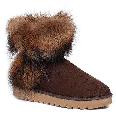 Graceful Faux Fur and Button Design Short Boots For Women - COFFEE 37