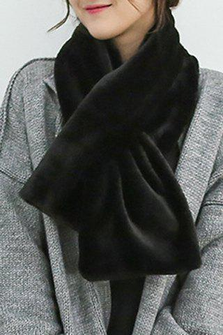 Chic Pure Color Faux Fur Women's Winter Short Scarf - BLACK