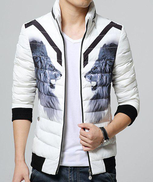 Thicken Stand Collar 3D Animal Tiger Print Rib Spliced Zipper Design Long Sleeves Men's Padded Coat