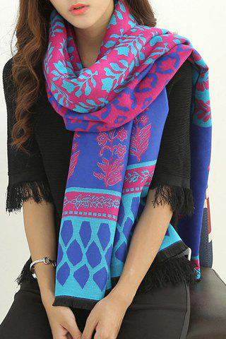 Chic Various Flowers Leaves Pattern Fringed Edge Women's Winter Scarf - BLUE