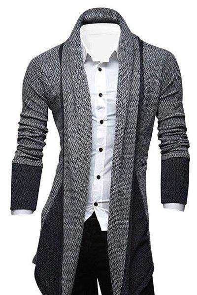 Color Block Splicing Turn-Down Collar Long Sleeve Lengthen Men's Cardigan