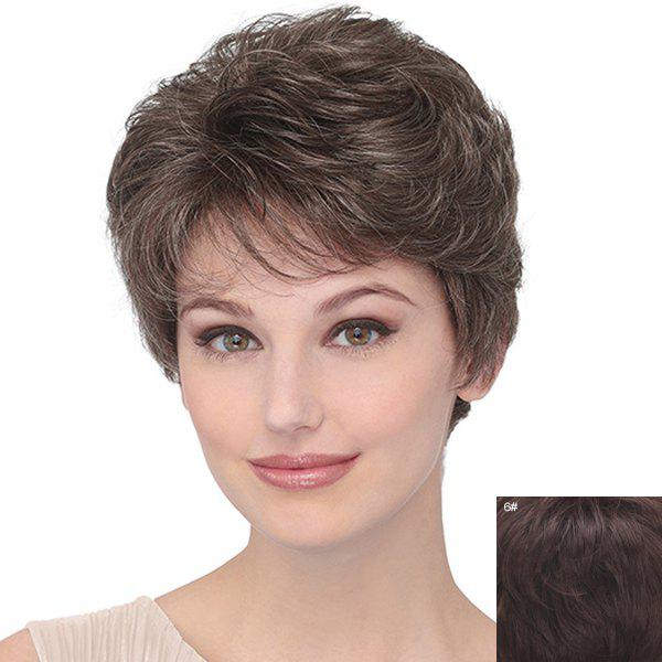 Human Hair Refreshing Inclined Bang Capless Spiffy Short Fluffy Curly Women's Wig - BLACK BROWN MIXED