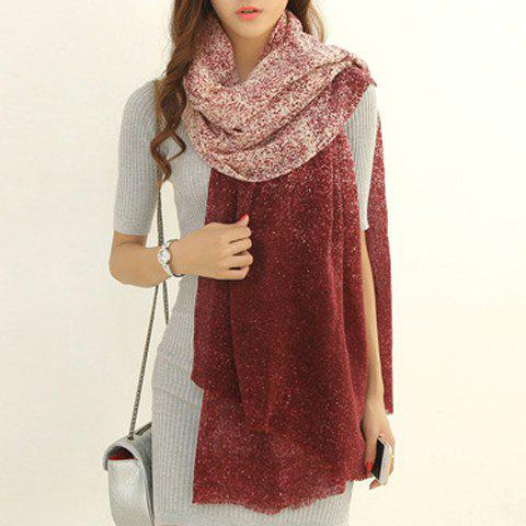 Chic Snowflake Dots Pattern Gradient Color Fringed Edge Women's Scarf - RED