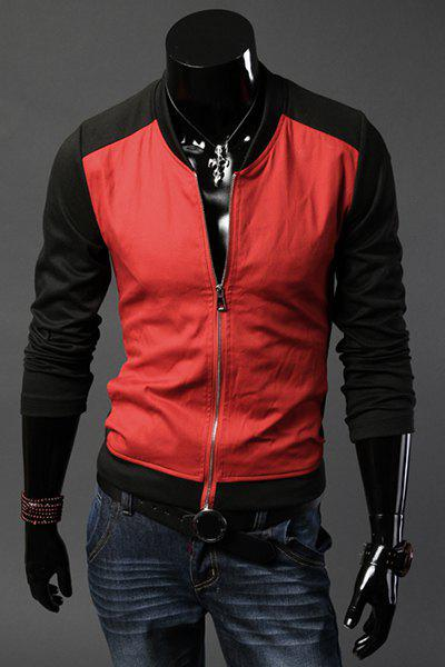 Slimming Stand Collar Long Sleeve Color Block Jacket - RED 2XL