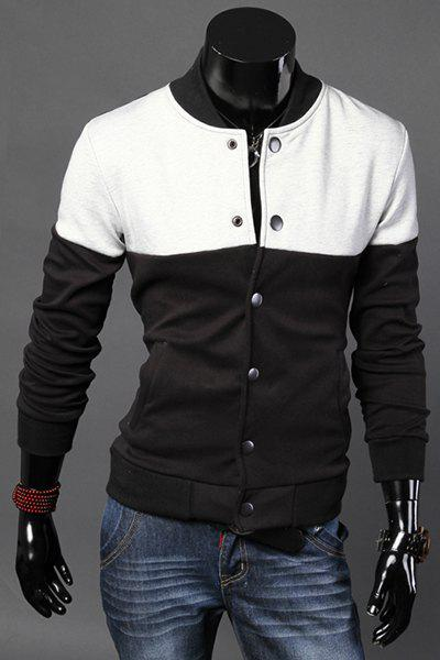 Slimming Color Block Spliced Stand Collar Long Sleeve Men's Baseball Jacket - BLACK 2XL
