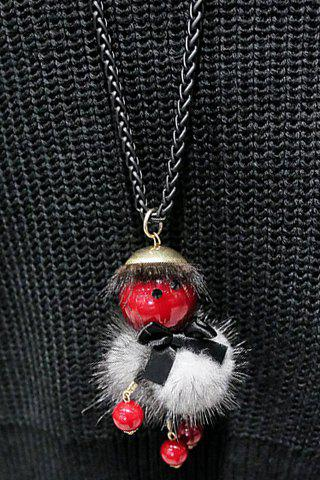 Cute Round Ball Little Doll Shape Sweater Chain For Women - RED