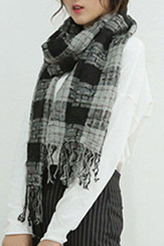 Chic Plaid Pattern Tassel Women's Ripped Scarf - BLACK