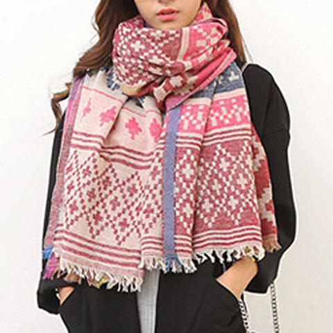 Chic Bohemian Rhombus Pattern Fringed Edge Women's Winter Scarf - PINK