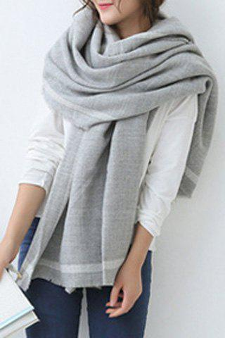 Chic Single Stripe Pattern Brim Fringed Edge Women's Big Pashmina - GRAY