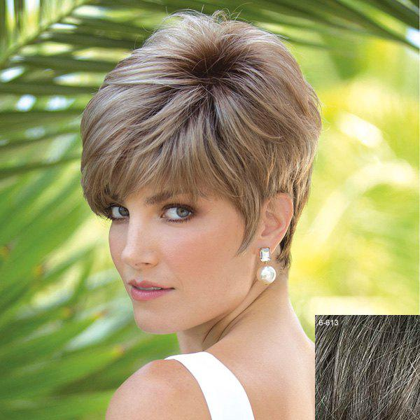 Spiffy Towheaded Side Bang Natural Straight Vogue Short Capless Real Natural Hair Wig For Women - DARKEST BROWN/GRAY