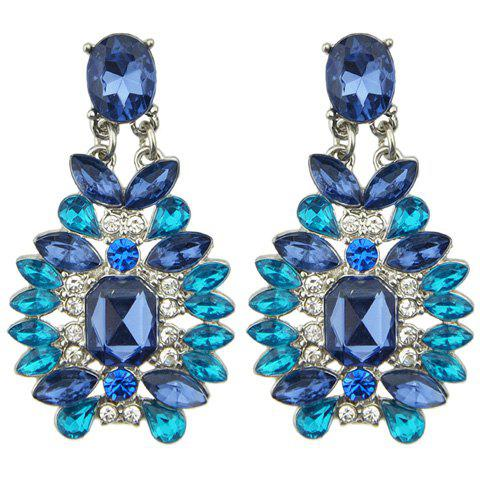 Pair of Chic Rhinestone Faux Sapphire Earrings For Women
