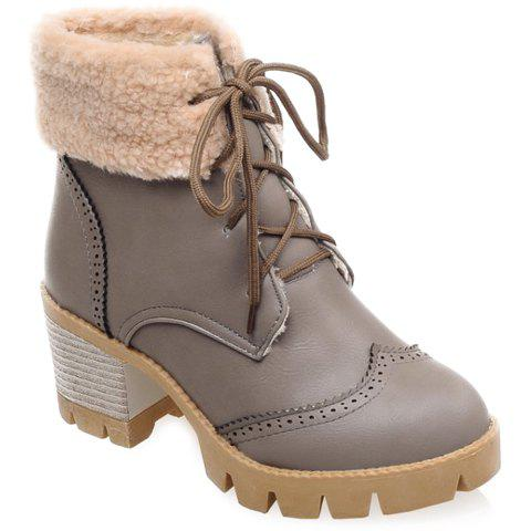 Stylish Lace-Up and Engraving Design Women's Short Boots - GRAY 37