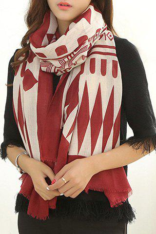 Chic Tribal Geometric Pattern Fringed Edge Women's Scarf - RED