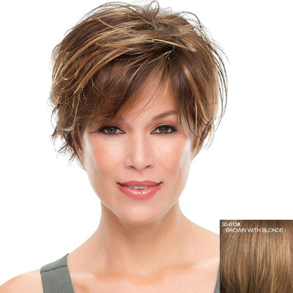 Nobby Fluffy Wavy Capless Graceful Inclined Bang Short Haircut Human Hair Wig For Women - BROWN/BLONDE