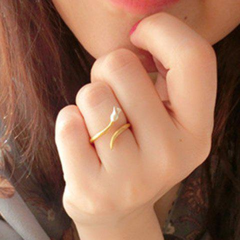 Trendy Little Rose Cuff Ring For Women - GOLDEN ONE-SIZE