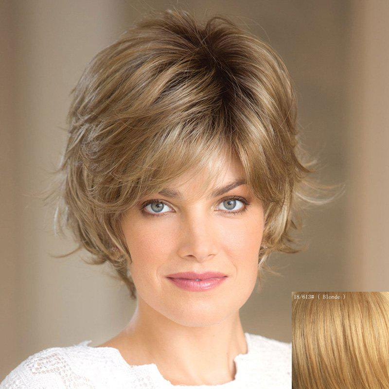 Shaggy Natural Wavy Elegant Short Capless Trendy Side Bang Women's Real Natural Hair Wig - BLONDE
