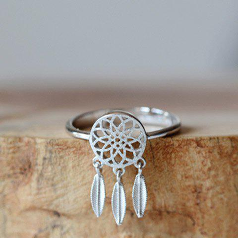 Stylish Solid Color Dream Catcher Cuff Ring For Women - SILVER ONE-SIZE