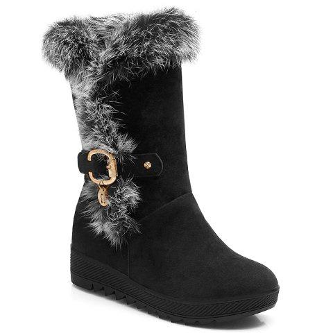 Casual Metallic Buckle and Suede Design Mid-Calf Boots For Women - BLACK 38