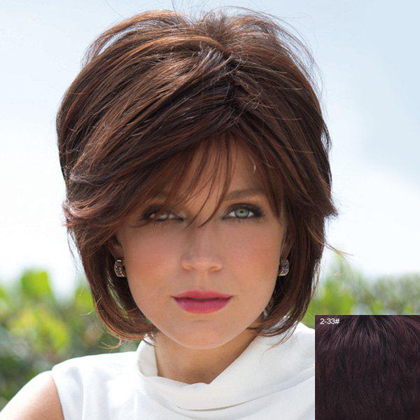 100 Percent Human Hair Bouffant Natural Straight Capless Fashion Short Side Bang Wig For Women