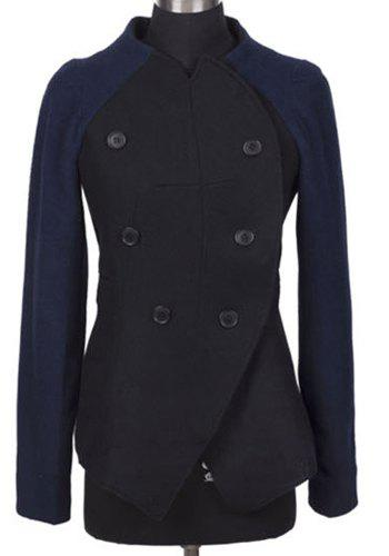 Elegant Stand Collar Buttoned Raglan Sleeve Slit Wool Coat For Women - BLACK S