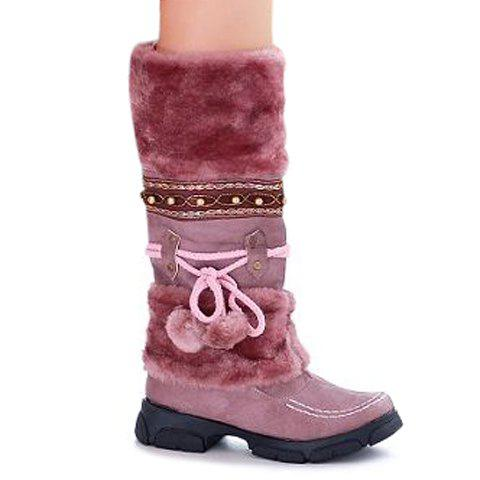 Faux Fur Pom Poms Mid Calf Boots - PURPLE 36