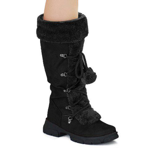 Preppy Style Zipper and Lace-Up Design Snow Boots For Women - BLACK 37