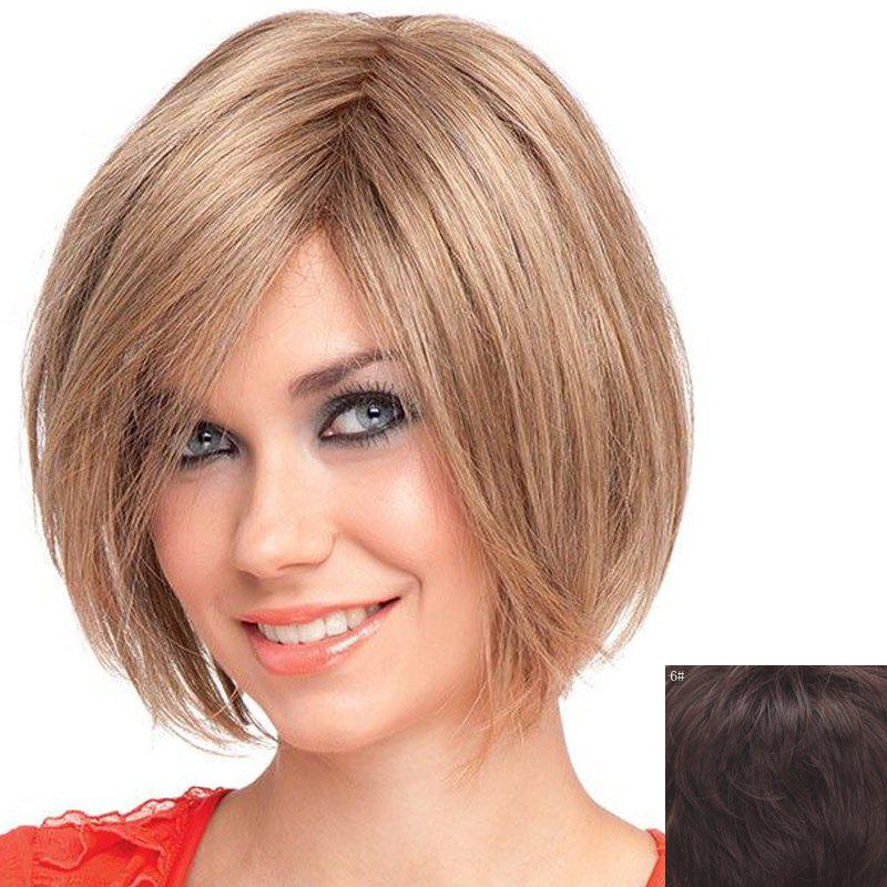 Human Hair Attractive Short Straight Capless Stylish Inclined Bang Wig For Women - BLACK BROWN MIXED