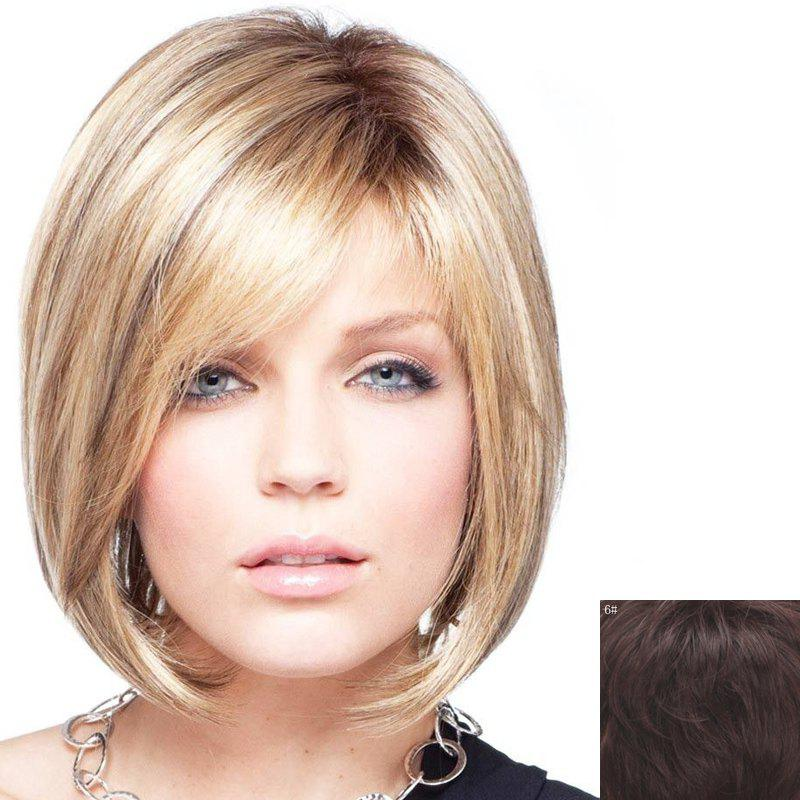 Bob Style Short Charming Side Bang Capless Fashion Straight Women's Real Human Hair Wig - BLACK BROWN MIXED