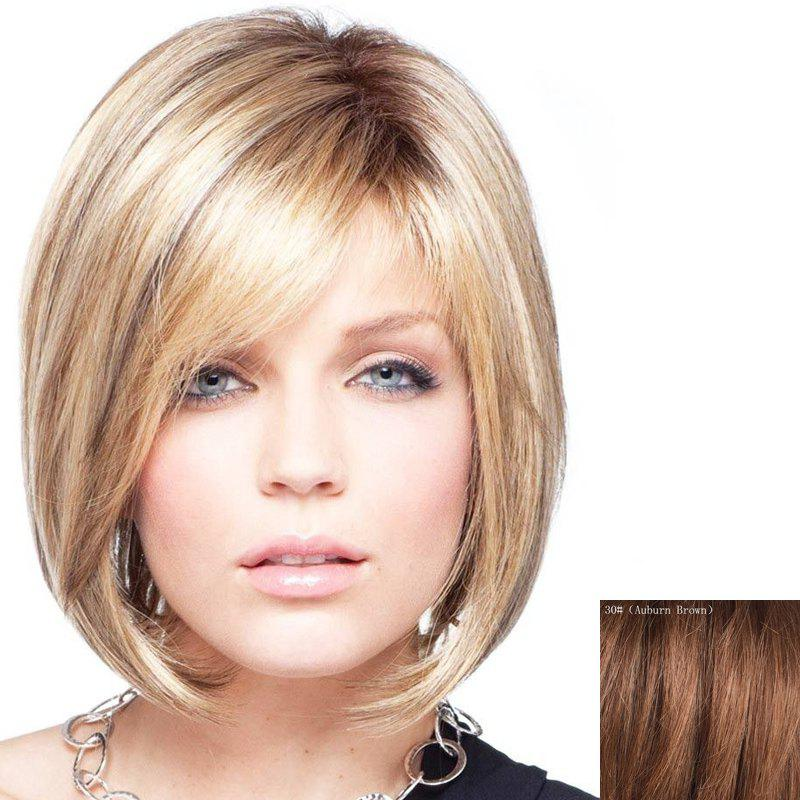 Bob Style Short Charming Side Bang Capless Fashion Straight Women's Real Human Hair Wig - AUBURN BROWN