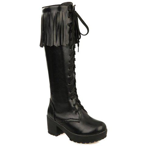 Elegant Fringe and PU Leather Design Mid-Calf Boots For Women - BLACK 37