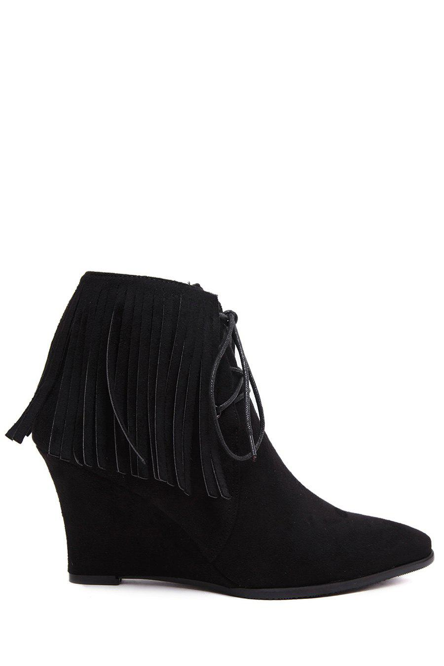 Trendy Fringe and Wedge Heel Design Women's Short Boots - BLACK 37