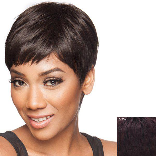 Spiffy Ultrashort Capless Stylish Straight Side Bang Assorted Color Real Human Hair Wig - BROWN BLACK MIXED /