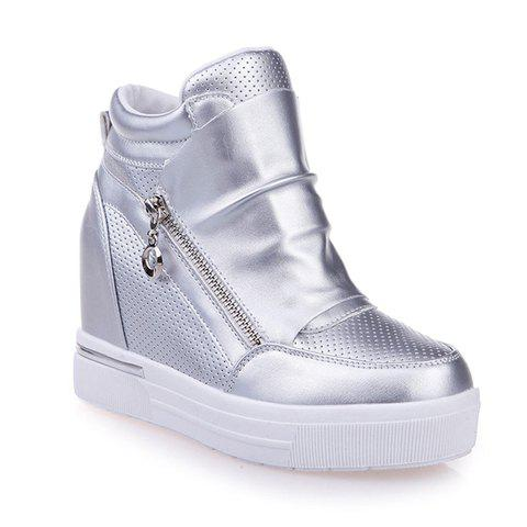 Fashion Solid Color and Zipper Design Wedge Sneakers For Women