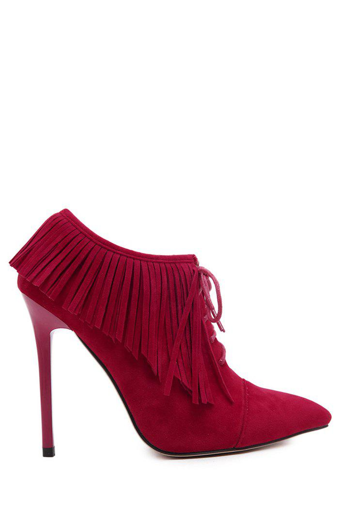 Party Fringe and Pointed Toe Design Women's Ankle Boots - RED 40