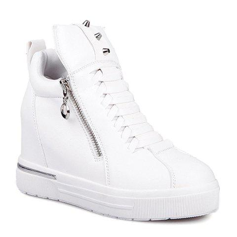 Fashionable Zipper and Rivets Design Sneakers For Women - WHITE 38