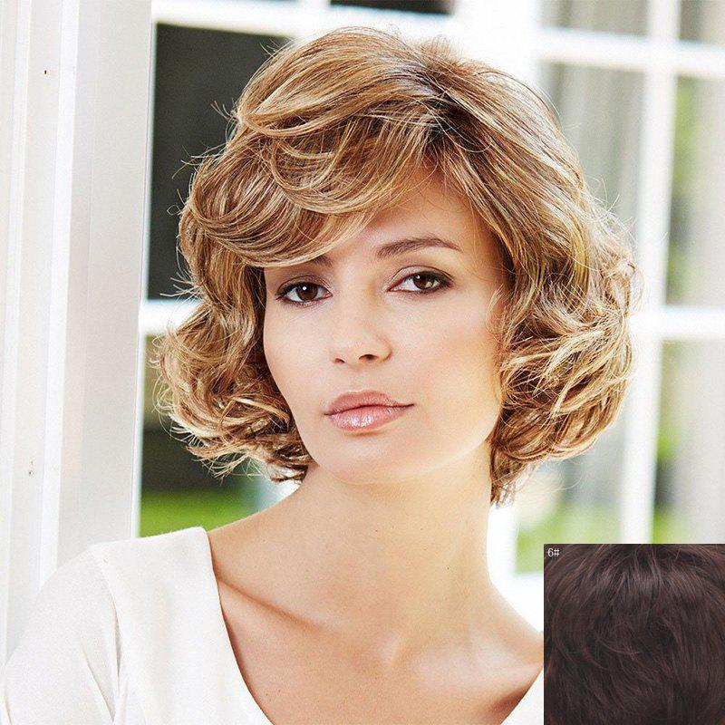 Human Hair Ladylike Shaggy Curly Capless Stylish Short Side Bang Wig For Women - BLACK BROWN MIXED