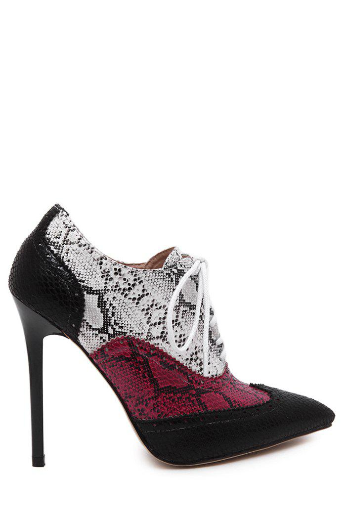 Stylish Snake Print and Pointed Toe Design Women's Ankle Boots - BLACK 35