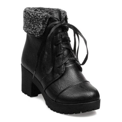 Concise Round Toe and PU Leather Design Short Boots For Women - BLACK 36