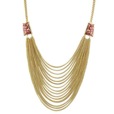Trendy Faux Gemstone Layered Sweater Chain For Women - RED