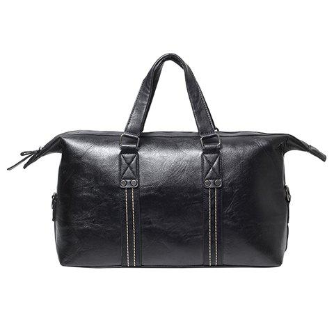 Concise Metal and Stitching Design Messenger Bag For Men - BLACK