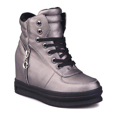 Simplicity Lace-Up and Stitching Design Short Boots For Women - GUN METAL 38